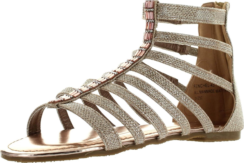 Bamboo Womens Fenchel 43 Gladiator Rhinestone Glitter Thong Flat Sandals pink gold