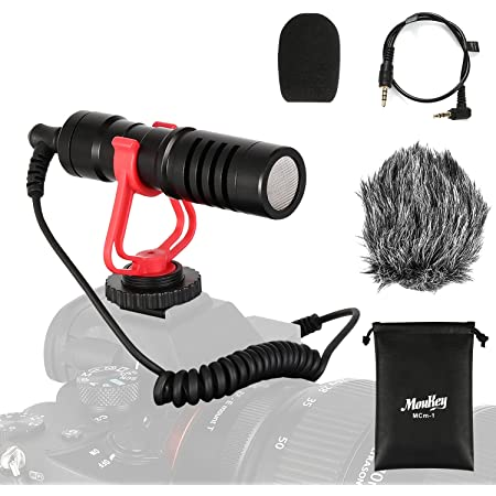 Moukey Camera Microphone, Video Microphone with Shock Absorber, Mic Windshield, Foam Cover, 3.5mm Conversion Cable and Storage Bag, External Shotgun Microphone for Vlogging Camera/Smartphone