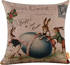 LINKWELL 18 by 18 Happy Easter Bunny Colorful Egg Chic Burlap Cushion Covers (CC709)