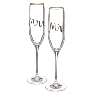 KATE SPADE Bridal Party 2-piece Champagne Flute Set, 1.35 LB, Clear