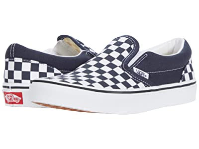 Vans Kids Classic Slip-On (Big Kid) ((Checkerboard) India Ink/True White) Boys Shoes