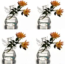 Syaglass Set of 4 Cute Clear Glass Angel Shape Flower Plant Hanging Vase Wedding Decor