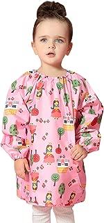 Children's Waterproof Bib Smock Pullover Sleeved Cartoon Pattern Kids Art Apron