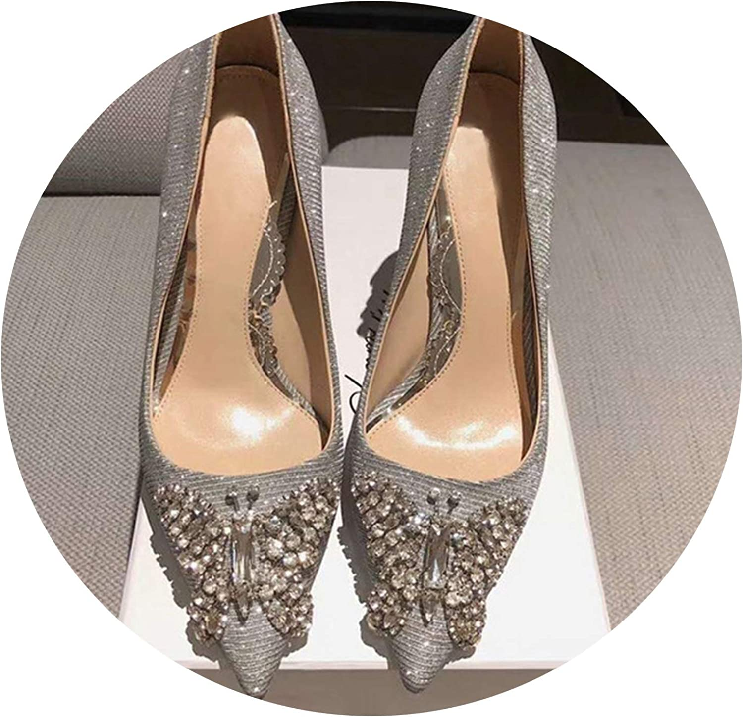 2019 Woman Pumps shoes Sexy Sequin Pointed Toe Lady High Heels Diamond Butterfly Decoration Shining