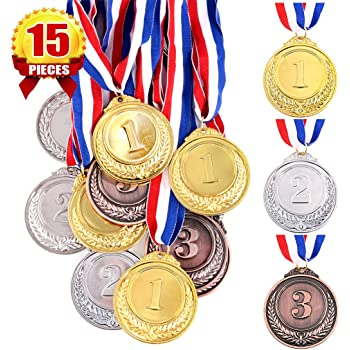 2 Diameter Plastic Silver Medals package of 12 DOMAGRON 721405437146