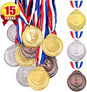 Swpeet 15Pcs Metal Gold Silver Bronze Award Medals with Ribbon, Olympic Style Winner Medals for Kids Children`s Events, Cl...
