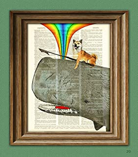 Dog Riding Whale Print. Kujira the Shiba Inu Dog Protects the Homeland From Evil Whalers With Love, Rainbows, and Her Deadly Harpoon. Doge Atop a Sperm Whale Dictionary Page Book Art Print
