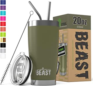 BEAST 20oz Tumbler Insulated Stainless Steel Coffee Cup with Lid, 2 Straws, Brush & Gift Box by Greens Steel (20 oz, Army Green)