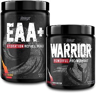 Nutrex Warrior High Stim Pre Workout Raspberry Hard Seltzer with EAA Hydration Blood Orange Sports Recovery Drink Mix Bundle