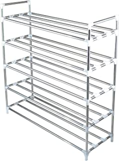 """Chiitek 5-Tier Durable Metal Shoes Organizer 30-Pair Stackable Free Stand Tower for Entryway Over Door Cabinet Closet 35.4""""X 11.8""""X 38.2"""""""