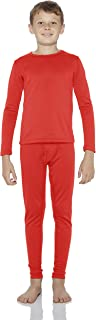 Rocky Thermal Underwear for Boys Fleece Lined Thermals Kids Base Layer Long John Set (Red - Large)