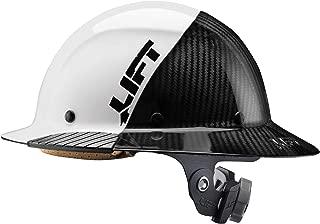 Lift Safety DAX Fifty 50 Carbon Fiber Full Brim Hardhat Hi Vis White & Black ANSI Compliant 6 Point Suspension Triple Reinforced Crown