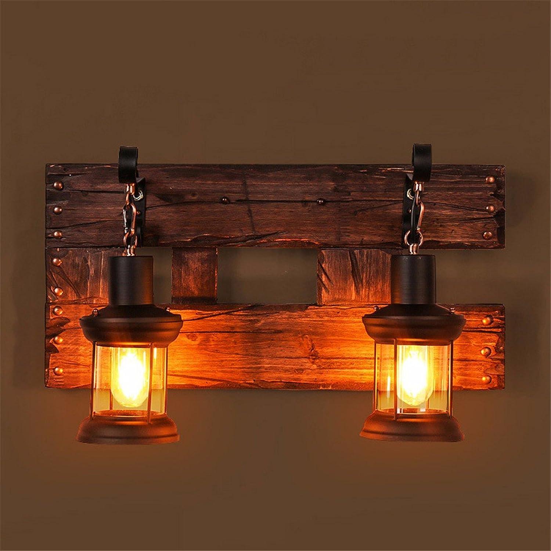 StiefelU LED Wandleuchte nach oben und unten Wandleuchten Cafeteria Wandleuchten antike Massivholz bar Glas Wandleuchte