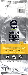 Ethical Bean Fair Trade Organic Coffee, Sweet Espresso Medium Dark Roast, Whole Bean Espresso Coffee  - 2lb (907g) Bag
