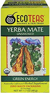 ECOTEAS Organic Unsmoked Yerba Mate Green Energy 24 Tea Bags (Pack of 6)