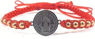 Saint Benedict Red Bracelet with Silver Color Medal and Gold Color Stones Pulsera Roja De San Benito Con Medalla Color Plateado Piedras Color Dorado