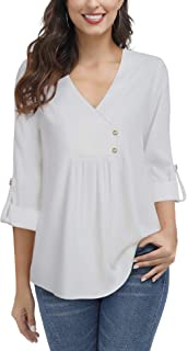 Lotusmile Women's Roll-up 3/4 Sleeve Shirts Casual V Neck Pleated Chiffon Blouse Tunic Top