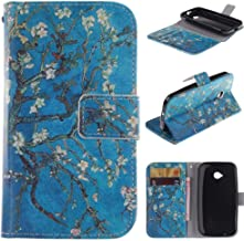 Moto E (2nd Gen) Case,E-weekly [Kickstand Feature][Money Card Slot] [Double Sided Design] Premium Soft TPU Synthetic Leather Wallet Cover For Motorola Moto E (2nd Generation)(Apricot Blossom Tree)