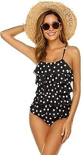 Women's Ruffled One Piece Swimsuit Solid Adjustable Strap Monokinis Bathing Suits Swimwear