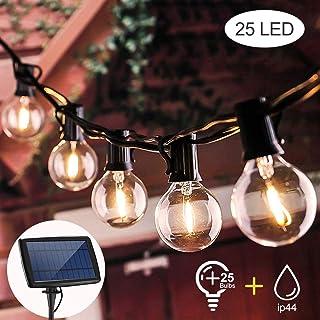Guirnalda Luces Exterior Solar,VIFLYKOO cadena de luz LED con 25 bombillas iluminación impermeable IP44,utilizada para jardín terraza árbol patio decoración de fiestas en el hogar-7.6M