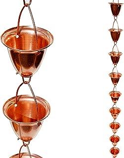 Stanwood Rain Chain Large Cup/Bell Copper Rain Chain, 8-Feet
