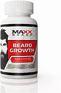 Beard Growth Vitamins for Men, Supports Full, Healthy and Sexy Beard and Mustache, Maxx Beard