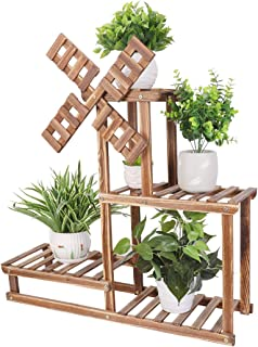 UNHO Multi-Tiered Plant Stand, Indoor Wood Plant Stand Flower Pot Holder Shelf Rack Outdoor Planter Display Stand Garden S...