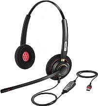 Arama USB Headset PC mit Mikrofon Noise Cancelling, PC Kopfhörer für Business Skype UC..
