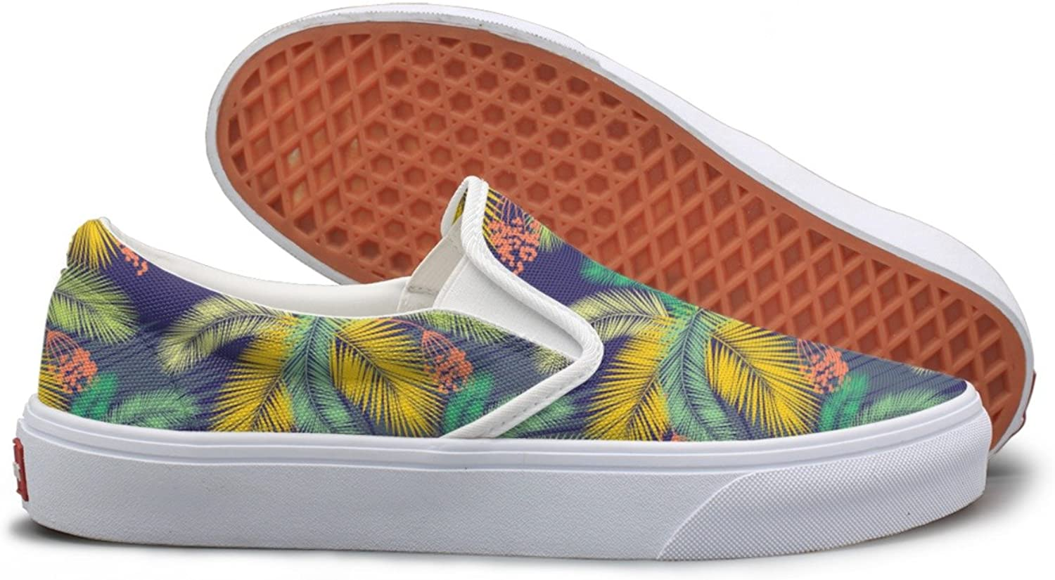 color Palm Leaves And Fruit Canvas Slip On shoes For Women