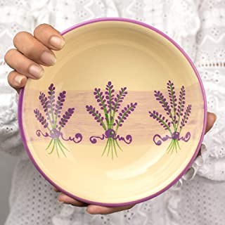 City to Cottage Handmade Lavender Floral Purple and Cream Glazed 7.3inch/18.5cm, 14oz/400ml Salad, Pasta, Fruit, Cereal, Soup Bowl | Unique Ceramic Dinnerware, Housewarming Gift