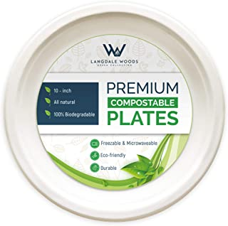 500 Compostable Plates 10-Inch - Heavy Duty, Biodegradable, Ecofriendly, Microwave and Freezer Safe Disposable Plates - Tree and Plastic Free Alternative to Paper Plates and Plastic Dinnerware
