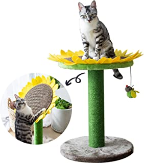 Catry Cat Sunflower Tree Bed with Scratching Post with Sisal Covered Climbing Activity Tower, Natural Jute Fiber 2-in-1 Sc...