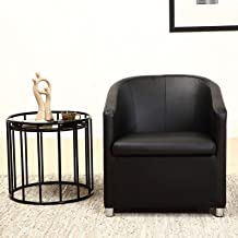 Bristole PU Leather Tub Chair, Black - 72H x 74W x 74D cm