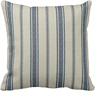 Emvency Throw Pillow Cover Cotton Linen Navy Blue French Jacquard Stripe Decorative Cotton Linen Striped Home Decor Square 16 x16 Inch Cushion Pillowcase