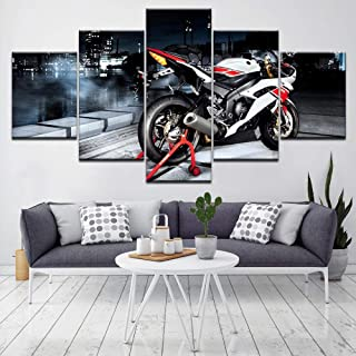 R6 Motorcycle 5 Piece Hd Wallpapers Art Canvas Print Modern Poster Modular Art Painting for Living Room Home Decor(Size)