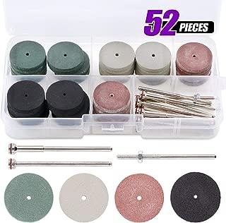 Swpeet 52Pcs Polishing Wheels Kit, 40Pcs 4 Colors Mixed Lab Beauty Silicone Rubber Polishing Wheels + 12 Mandrel Shank Perfect for Rotary Hand Pieces Dremel Rotary Tool