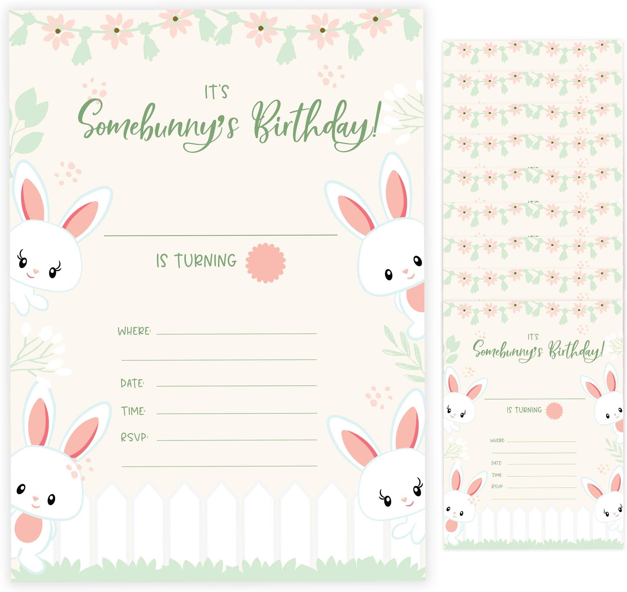 Printed Pink Bunny Birthday Invites Printed Bunny Rabbit First Birthday Invitations