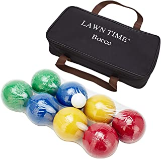 LAWN TIME Bocce Set - Recreational Plastic 90mm Bocce Ball Set with Carrier Bag - Classic Outdoor Toss Game