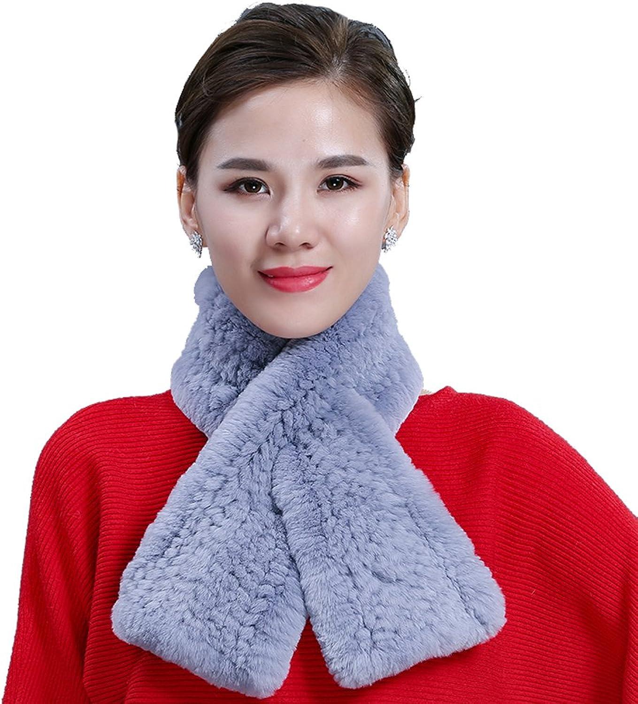 MINGXINTECH womens rabbit fur scarf smooth touch front cross design shawl