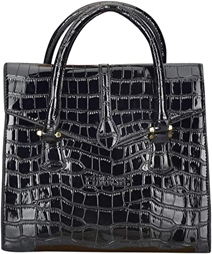 Women S Vegan Leather Alligator Pattern Handbag With Strong Double Handle And Detachable Shoulder Strap