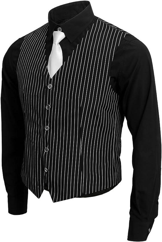 Nofonda 1920s Disfraz de Gangster,Camisa,Chaleco y Corbata,Traje Vintage de Mafia de Gangster Boss para Hombre