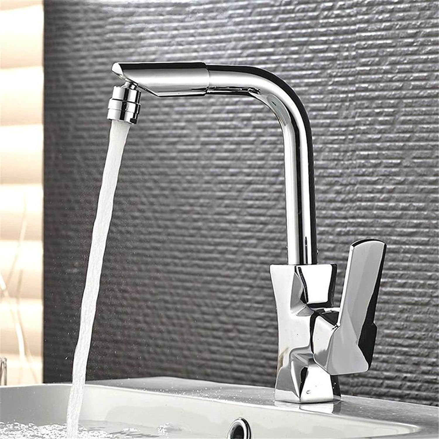 Commercial Kitchen Faucet Stainless Steel Handle Pull Out Kitchen Sink Faucet Hot and Cold Basin Faucet can be Turned Freely to The Kitchen washbasin Double tap