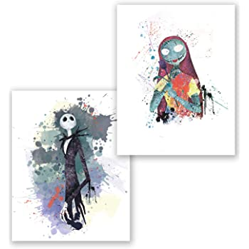 PGbureau Nightmare Before Christmas Poster- Set of 2 - Sally Prints – Jack Inspired - Wall Home Décor (8x10)