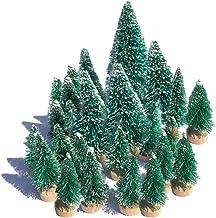 Mini Snow Globe Christmas Trees Tabletop Fake Bottle Brush Decor Craft Christmas Village Flocked Pine Trees with Base Asso...