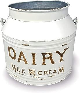 MtnGifts Farmhouse Rustic Metal Milking Pail Dairy Bucket Flower Vase Country Kitchen Utensil Storage