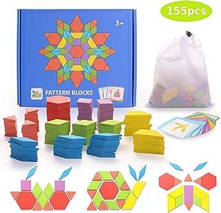 HellDoler Puzzles de Madera,155Pcs Bloques de Madera Set Rompecabezas de Formas Geométricas, DIY Montessori Tangram Juguetes con 24Pcs Tarjetas de Diseño para Niños