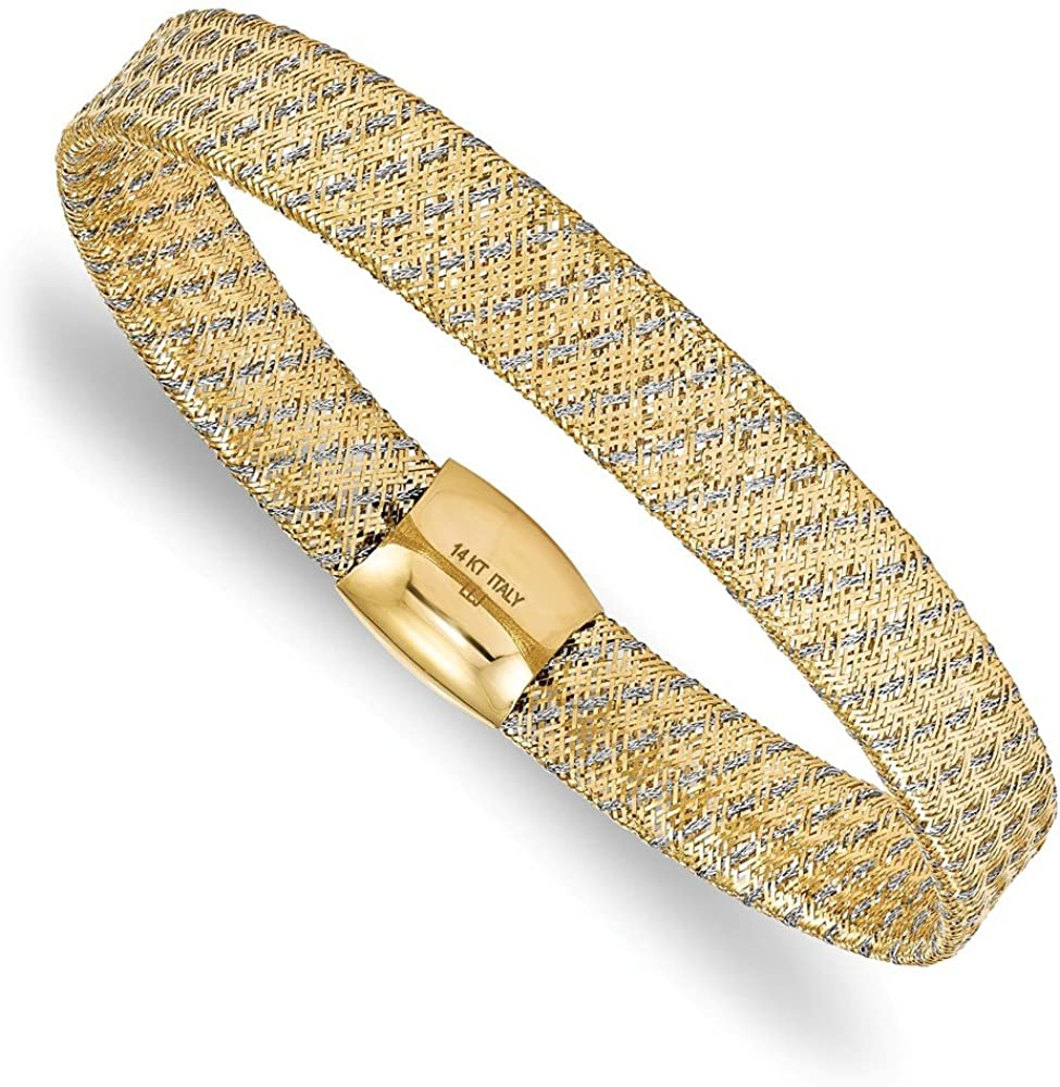14k Yellow and White Gold Two Tone Unique Stretch Bangle Cuff Bracelet 7.5