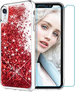 Maxdara Case for iPhone XR Glitter Case Tempered Glass Screen Protector Floating Liquid Bling Sparkle Luxury Pretty Fashion Girls Women Case XR 6.1 inches (Red)