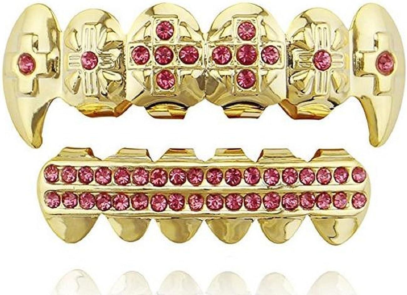 mainlead 14k Gold Customized Pink Stones Grills Set 2 Rows Bar CZ Teeth