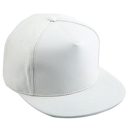 White Leather Mens Hat  Amazon.com 50e2536adde